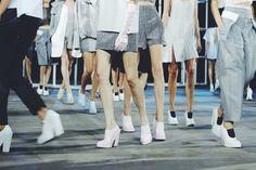 Model legs at Alexander Wang S/S 14