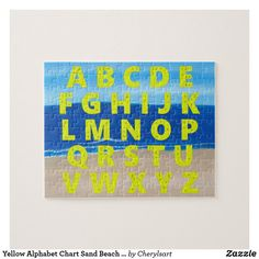 Yellow Alphabet Chart with scene of Sand Beach Ocean Sky, Jigsaw Puzzles. By CherylsArt on Zazzle. #alphabet #alphabetpractice