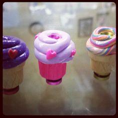 Heart sprinkles and play dough ice cream vapor tips.. Pretty adorable..