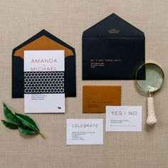This sleek and modern wedding invitation suite features a geometrically patterned belly band that hugs your rectangular invitation. The front depicts a combination of sophisticated and traditionally modern fonts with an added touch of copper foil to make your details pop.