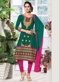 Green Cambric Cotton Churidar Suit
