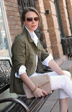 white denim, military jacket