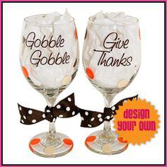 Gobble Gobble Thanksgiving wine glasses