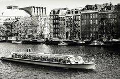 Touristic Boat at Amsterdam Canal.ouristic boat at Amsterdam canal in sunny spring day, black and white processing Urban Photography, Fine Art Photography, Street Photography, Travel Photography, Rainbow Wood, Amsterdam Canals, Amsterdam Holland, Art Prints For Home, New Wave