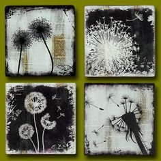 Dandelion wood art | Dandelion Dreamin' Set of 4 Handmade Glass and Wood Wall Blox from ...