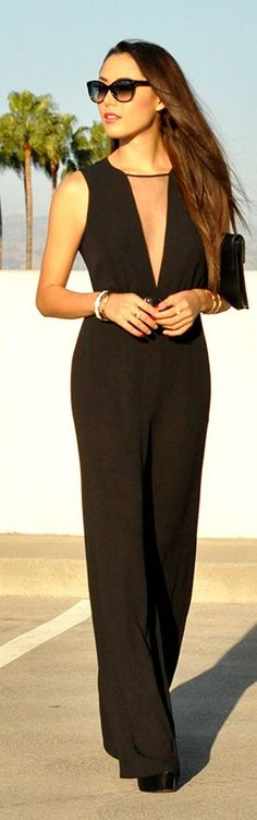 Luxurious and Chic- Black Plunge V Neck Taylor Jumpsuit by Hapa Time- ♔LadyLuxury♔