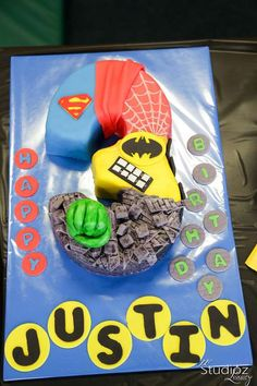 Awesome cake from a superhero birthday party! See more party planning ideas at CatchMyParty.com!