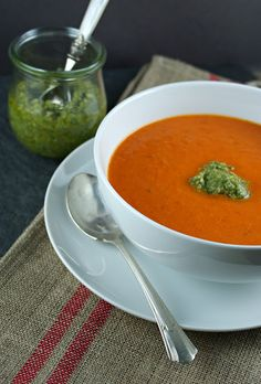 roasted red pepper soup with cashew pesto @Lisa |Authentic Suburban Gourmet