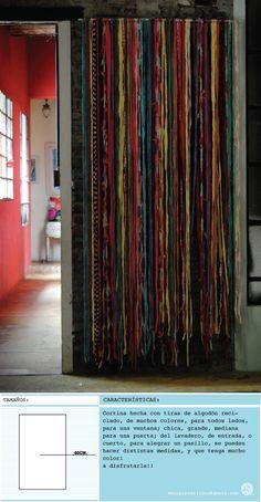 cortina hecha con material reciclado