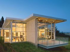 modern method home with large windows