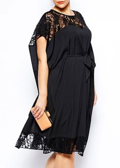 Round Neck Batwing Sleeve Lace Splicing Dress - USD $24.07