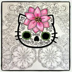 I am completely shameless with my long time love for hello kitty. but the only way I would get a tattoo of her is if it were like this :P I love skulls and hello kitty. Hello Kitty Art, Hello Kitty Tattoos, Hello Kitty Images, Here Kitty Kitty, Sugar Skull Design, Sugar Skull Art, Sugar Skulls, Colouring Pages, Coloring Books