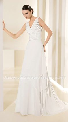 White Sheath/Column V-neck Chiffon Garden/Outdoor Wedding Dress