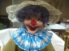 BISQUE AND SOFT BODY CLOWN, VERY GOOD CONDITION
