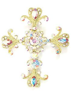 Purchase the Faship Big Cross Crucifix Pin Brooch Pendant AB Rhinestone Crystal securely online at mariescrystals.com today.