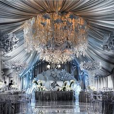 """Grey shade for your wedding decoration? We're adoring this jaw-dropping setup by that incorporates exquisite elements such as:…"" Wedding Stage, Wedding Goals, Wedding Planning, Reception Decorations, Event Decor, Luxury Wedding, Dream Wedding, Blue Wedding, Wedding Bride"