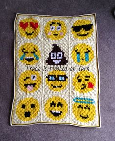 Emoji blanket, pattern from Repeat Crafter Me.