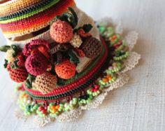 Ilex Arisanensis ... Freeform Crochet Cuff - Flowers - Burgundy Cream Green Brown