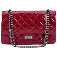 Preowned Chanel Burgundy Patent Jumbo Bag (£4,260) ❤ liked on Polyvore featuring bags, handbags, shoulder bags, red, shoulder handbags, burgundy handbags, red patent leather handbag, chanel shoulder bag and red shoulder bag