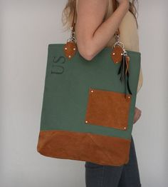 Large Army Canvas & Vintage Suede Tote