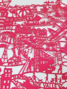 San Francisco Pink Paper Cut Original