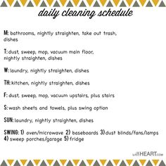 DAILY CLEANING SCHEDULE by withHEART.com
