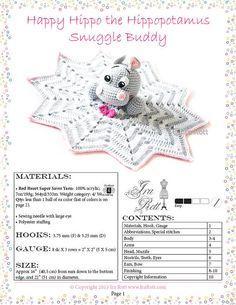 Happy Hippo the Hippopotamus Snuggle Buddy Lovey Blankey Crochet Pattern in PDF by Ira Rott