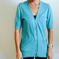 BANANA REPUBLIC TURQUOISE CARDIGAN Button up cardigan with gold detail in buttons. Great condition  Banana Republic Sweaters Cardigans