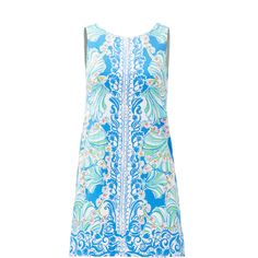 Rental Lilly Pulitzer Blue Shell Shift ($30) ❤ liked on Polyvore featuring dresses, lilly pulitzer dresses, crew neck dress, sleeveless dress, blue sleeveless dress and exposed zipper dress