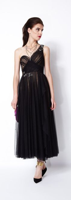 Machesa Notte Embroidered Tulle One-Shoulder Cocktail Dress