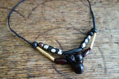 Black waxed cord macrame necklace with bone bamboo and wood