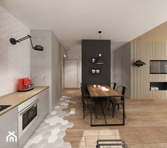 Apartament Śródmieście - Duża otwarta kuchnia w kształcie litery l w aneksie, styl skandynawski - zdjęcie od Krystyna Regulska Architektura Wnętrz