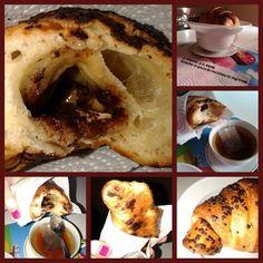 """Collage #collage phases #saturday breakfast especial.  Choco drops on my croissant. @ athome Table 4>* 19.7.2014 -Natural-BRIOCHE. #brioches #brioscine #sugar #Danesi surprise in my morning #sorpresina in mattina presto (h8AM). NO topping. #orange #brown#Cioccolato #gocce#peachtea #peach #cup #tea for a perfect  #italianbreakfast #traditional Haveabreakfast n°2! 10am x20"""".. i Croissant; 1/2 x 40gr x1400k.♡ 8carb.3sugar.4protein.1,5fiber.2/1fat.♡…"""