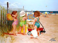 "Beach Babies by Artist Donald Zolan Media: Oil on Canvas Size: 30"" x 40"" Date: 2000 Location: Scottsdale, AZ"
