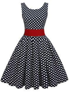 EA Selection Femme Robe Vintage 1950s a Pois Jupe Plissee pour Soiree Cocktail Bleu fonce S: Amazon.fr: Vêtements et accessoires