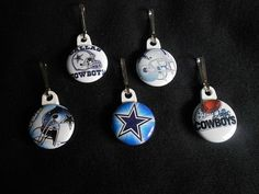 Set of 5 Dallas Cowboys zipper pulls. by GrandmasBowsonETSY, $7.00