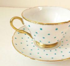 Shelley Turquesa Bolinhas Ouro Guarnição chá xícara e Pires