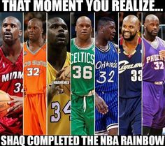 Just Shaquille ONeal - Funny Sports - - Wow was not aware that Shaq played on 7 different teams and these are actually the 7 colors of the rainbow. The post Just Shaquille ONeal appeared first on Gag Dad. Funny Nba Memes, Funny Basketball Memes, Football Memes, Stupid Funny Memes, Funny Relatable Memes, Hilarious, Funny Basketball Pictures, Soccer Humor, Hilarious Memes