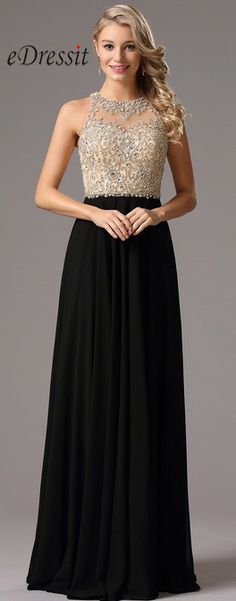 Step out in sheer luxury in this incredible evening gown and make a stunning impression at the party. eDressit Halter Neck Beaded Bodice Prom Dress Formal Gown.