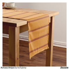 """Autumn Stripes Medium Table Runner  Pumpkin and rust stripes. Click on the """"Customize it!"""" button for more advanced options, to add text or images, etc."""