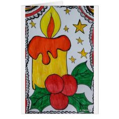 Hand Painted Christmas Candle Card - Xmascards ChristmasEve Christmas Eve Christmas merry xmas family holy kids gifts holidays Santa cards