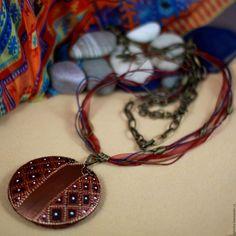 Купить Кулон подвеска, крупное украшение, деревянный кулон, бохо этно Африка