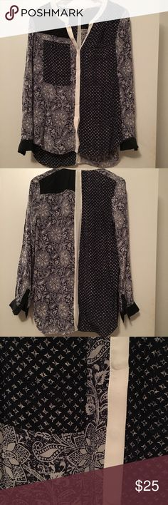 Rebecca Taylor Navy Silk Print Mix Top Size 8 EUC Worn once, gorgeous mixed block and paisley prints in navy and white. Button up blouse style. Rebecca Taylor Tops Blouses