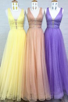 Deep V-Neck Solid – Lilac, Mint Green, Coral Tulle Long Prom Dress – Graduation Dress Pink Prom Dresses, Prom Party Dresses, Club Dresses, Graduation Dresses, Graduation Ideas, Tight Dresses, Homecoming Dresses, Full Gown, Ribbed Knit Dress