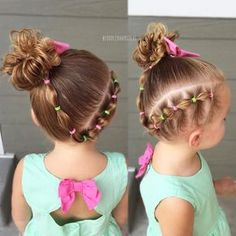 Connected side bubbles and messy side bun! Toddler hair ideas