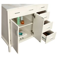 Newtown Bathroom Vanity Set in White-I like this but maybe bigger with drawers on each side!