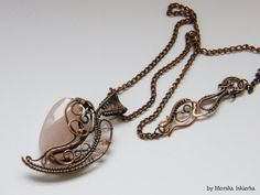 Telyn wire wrapped necklace quartz copper handmade by MeaJewelry