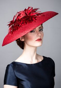 Rachel Trevor Morgan, A/W 2014. Red sinamay straw bell hat with veiling and feathers flowers.