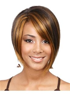 Affordable Short Straight Brown Side Bang African American Lace Wigs for Women 12 Inch