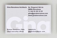 Gina Barcelona Architects Business cards designed by Albert Romagosa Design Cabinet.